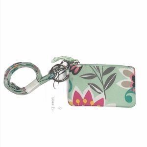 Vera Bradley Lighten Up Zip ID Lanyard Mint Flower